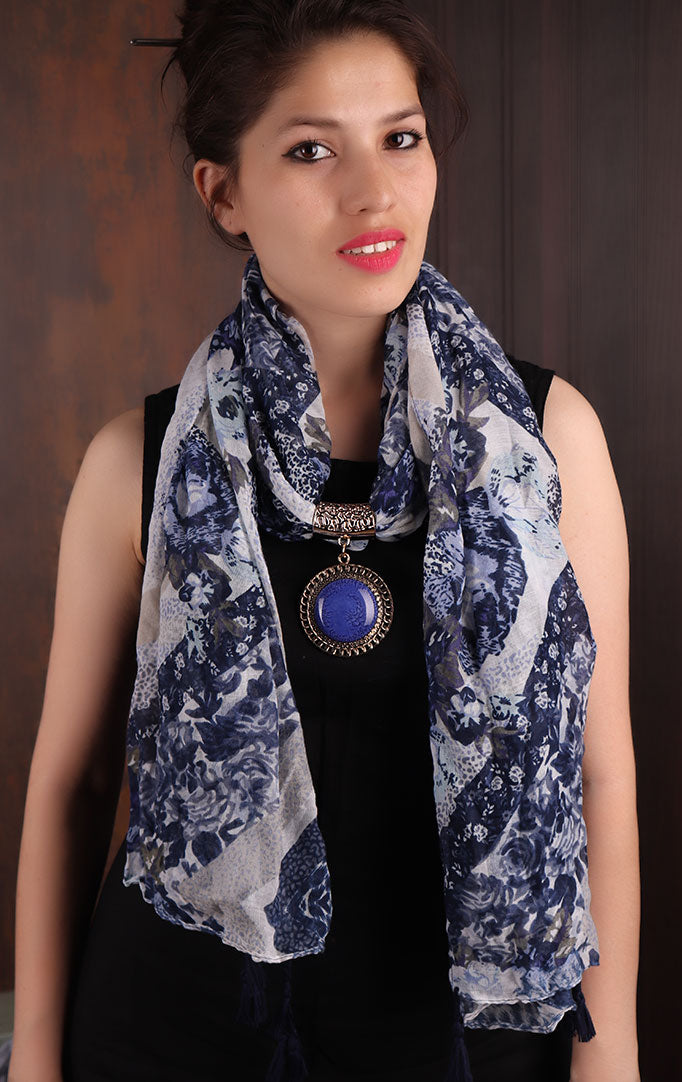 Blue-White Floral Printed Scarf Necklace