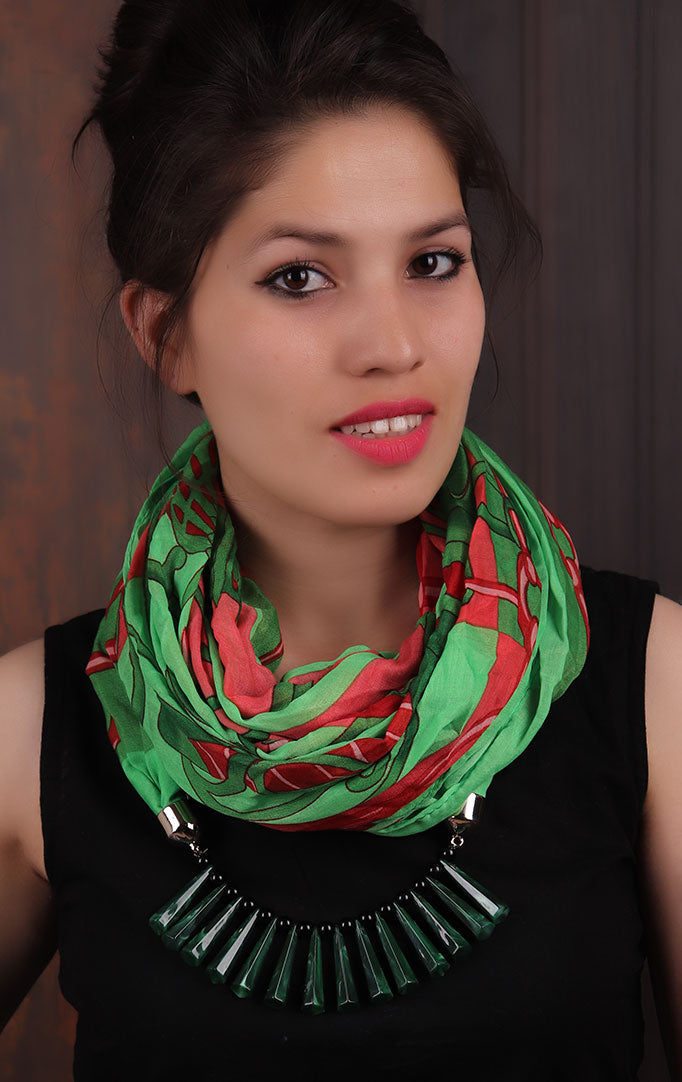 Green Red Printed Infinity Scarf Necklace