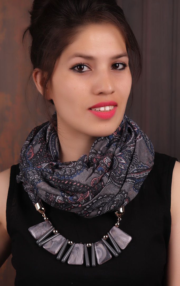 Black-Lilac Paisley-print Infinity Scarf Necklace