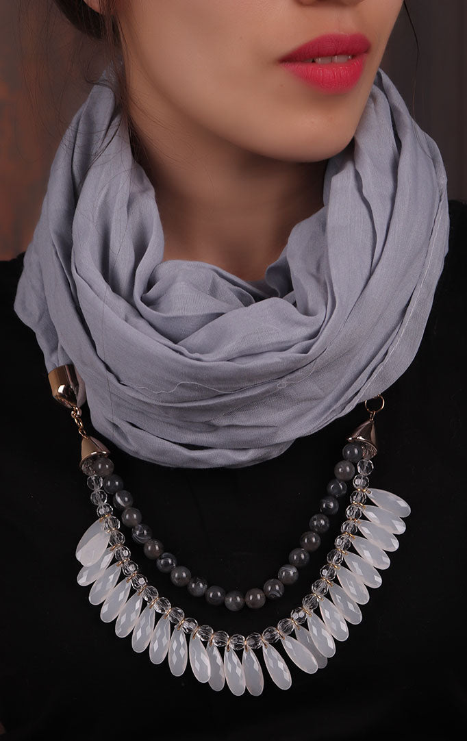 Light Grey Beaded Infinity Scarf Necklace