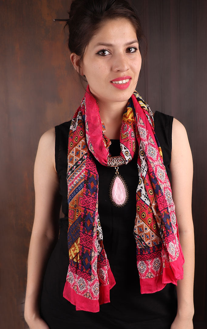 Pink Printed Scarf with Drop-shaped Pendant