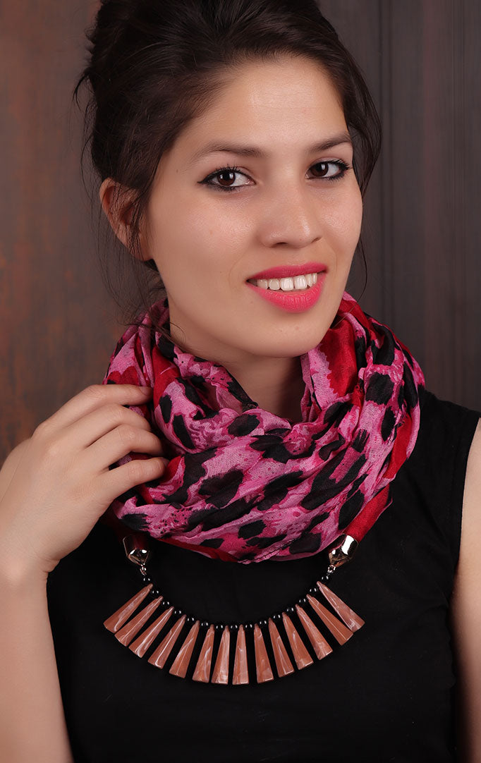 Pink-black Leopard-print Infinity Scarf Necklace