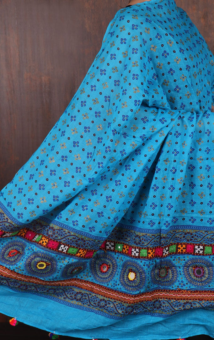 Turquoise Bandhani dupatta with Mirror & Thread Work