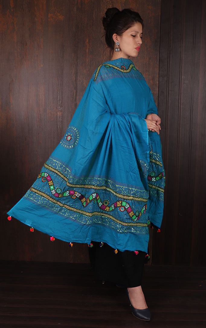 Light Blue Thread Work Banjara Duppata