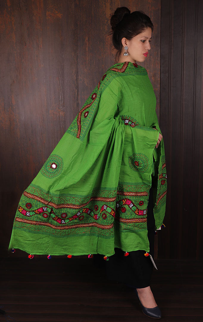 Green Blockprint Dupatta with Thread & Mirror Work
