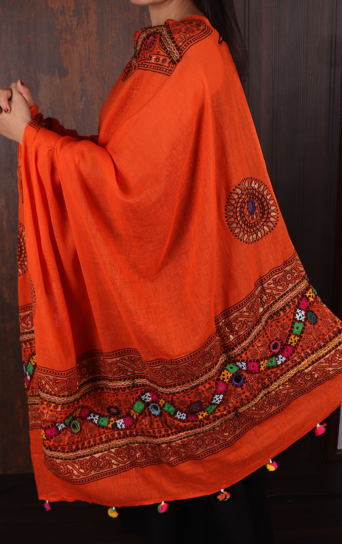 Divine Hue Banjara Work Dupatta in Orange