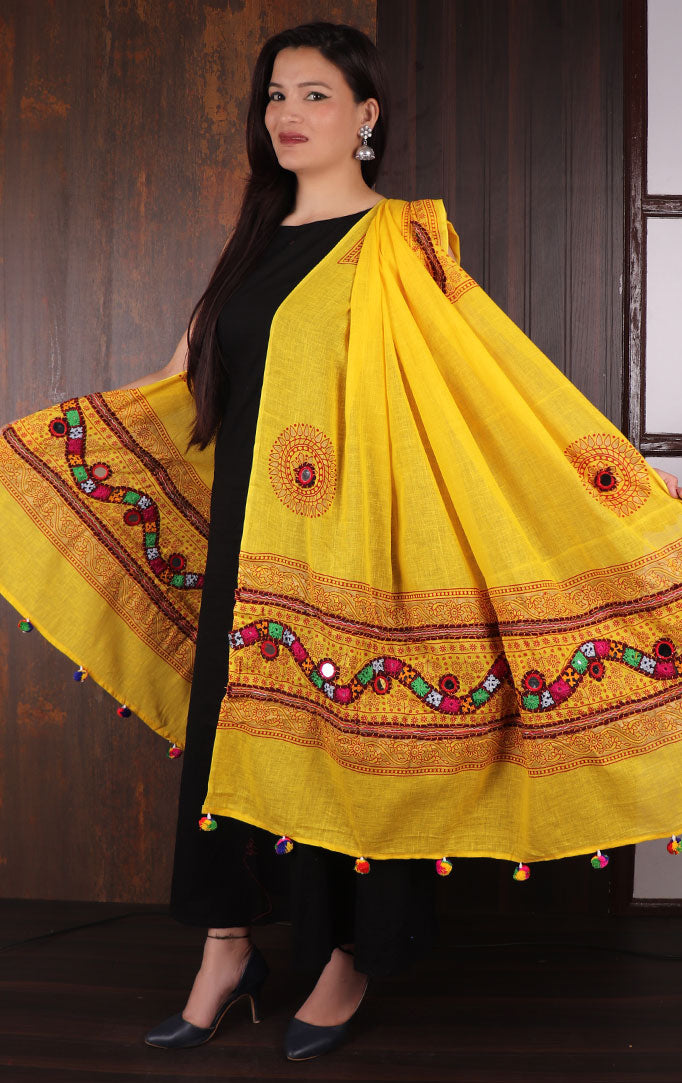 Yellow Mirror & Threadwork Banjara Dupatta