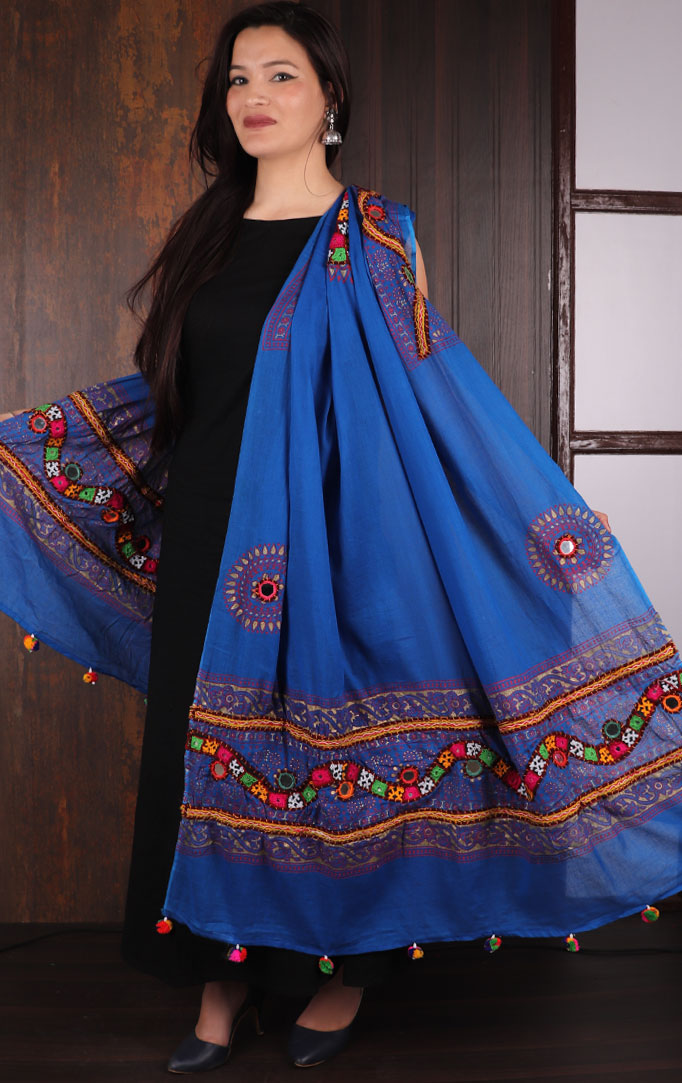 Blue Bandhani dupatta with Mirror & Thread Work