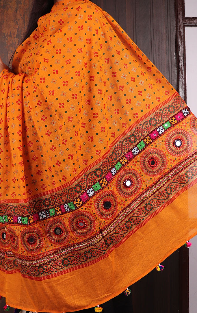 Orange Bandhani dupatta with Mirror & Thread Work