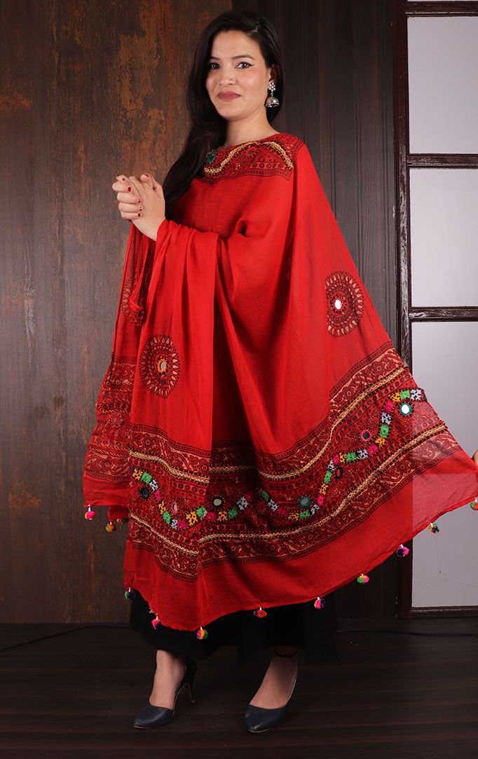 Red Mirror & Threadwork Banjara Dupatta