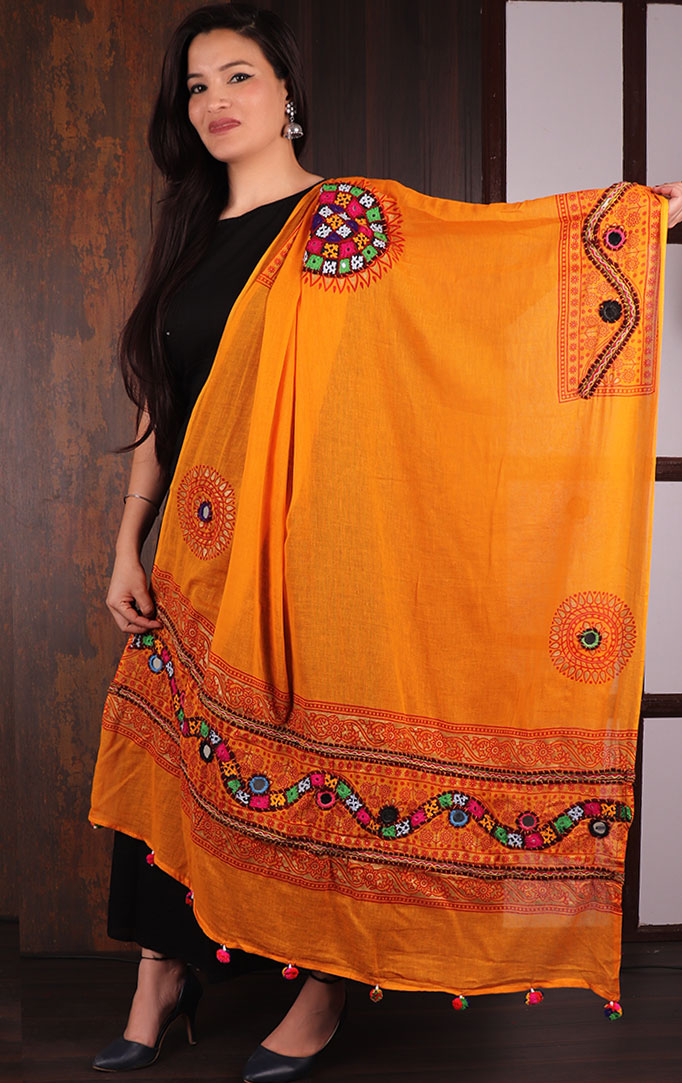 Orange Mirror & Threadwork Banjara Dupatta