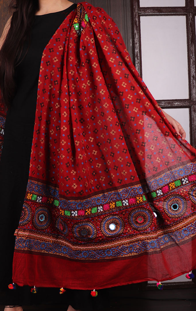 Dark Red Bandhani dupatta with Mirror & Thread Work