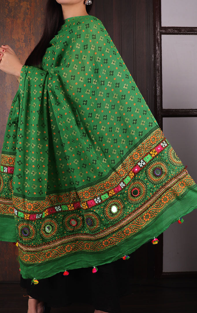 Light Green Bandhani dupatta with Mirror & Thread Work