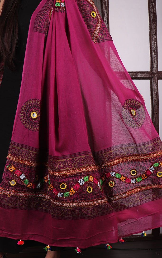 Purple Mirror & Threadwork Banjara Dupatta
