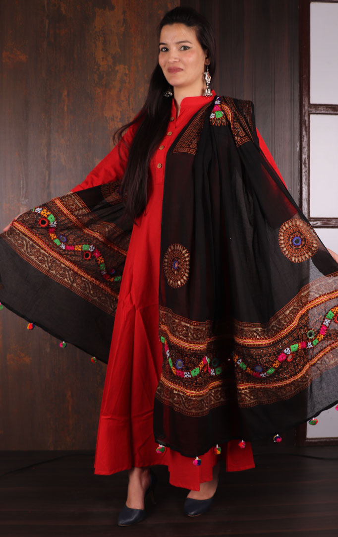 For Every Occasion Banjara Dupatta in Black
