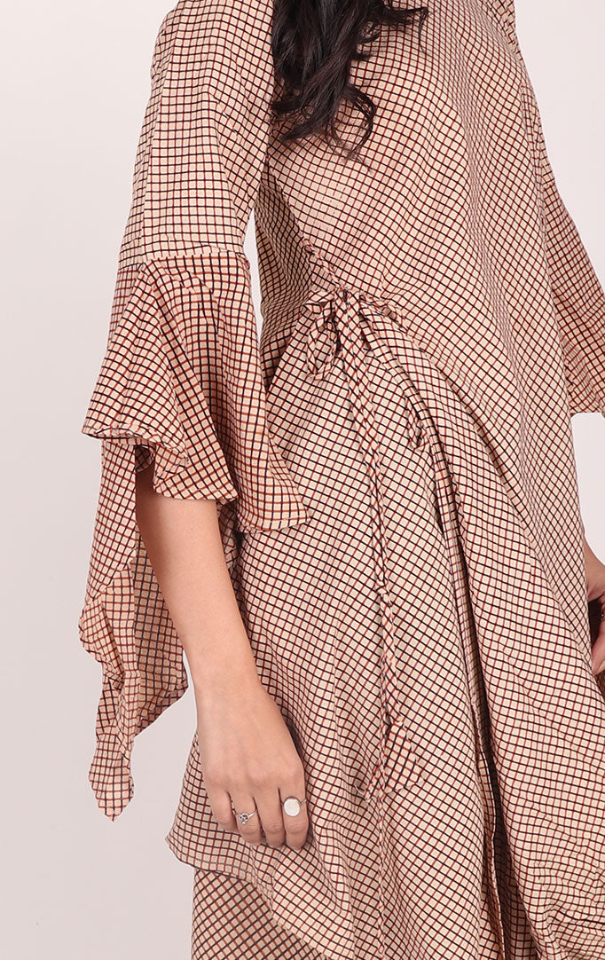 Checkered Cowl Dress with Bell Sleeves