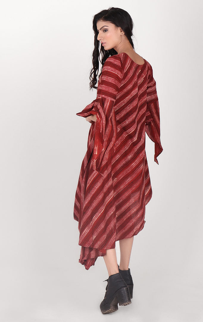 Maroon Striped Cowl Dress With Bell Sleeves