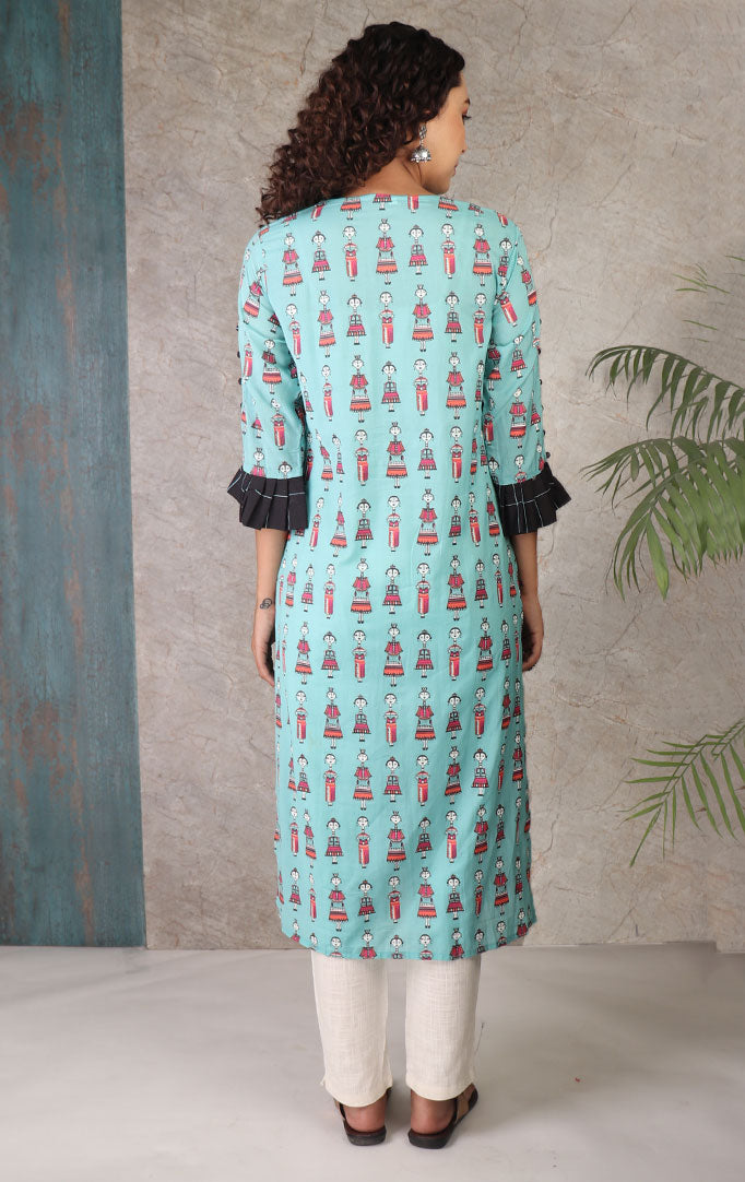 Quirky Anime Print Kurta With Jacket Look