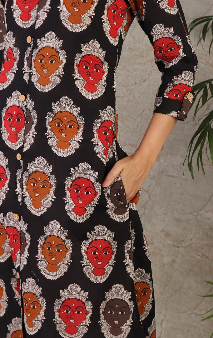 Kalamkari Faces Print Kurta In Black