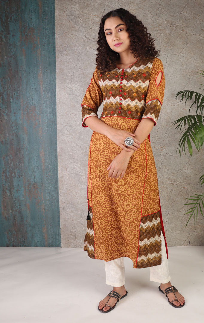 Mustard Hue Kurta with Jacket Look