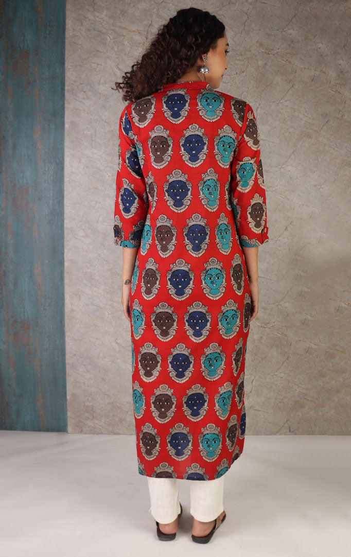 Kalamkari Faces Print Kurta