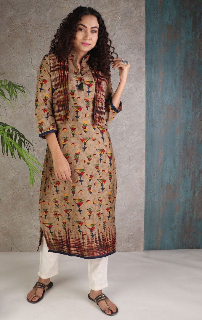 Dark Hue Kurta With Jacket Look