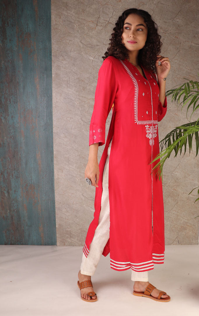 Red High Slits Kurti