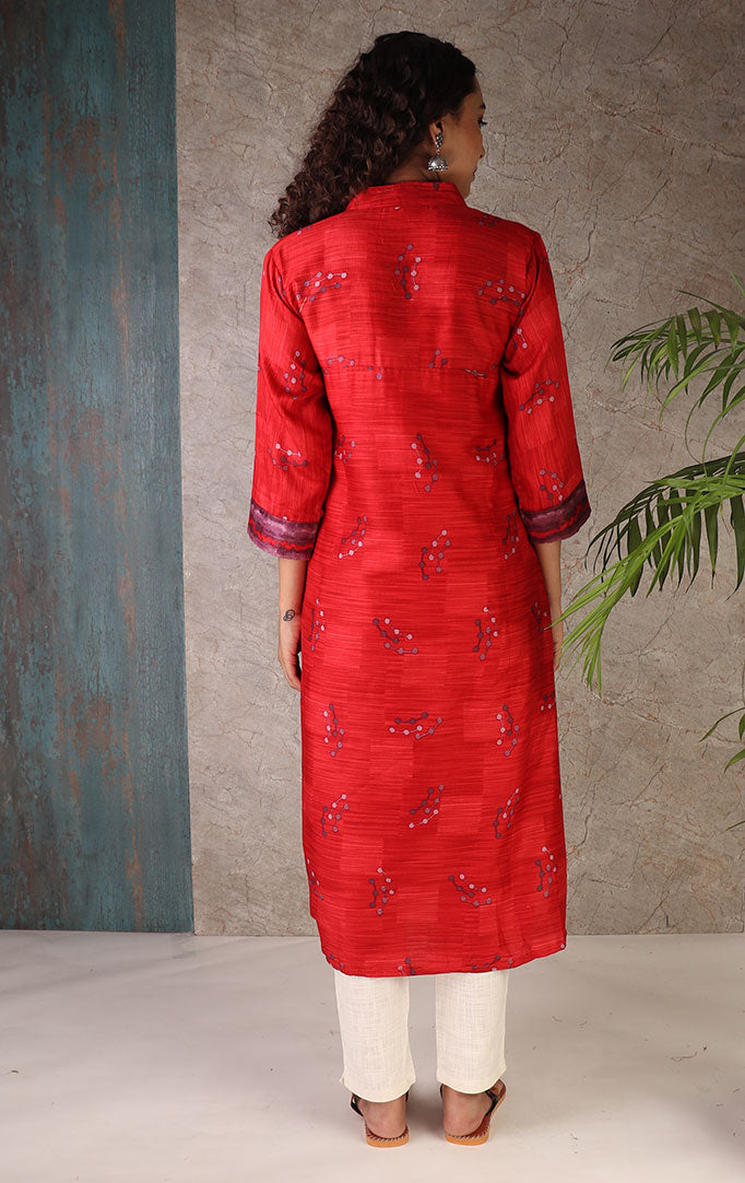 You Are My Muse Kurti in Red