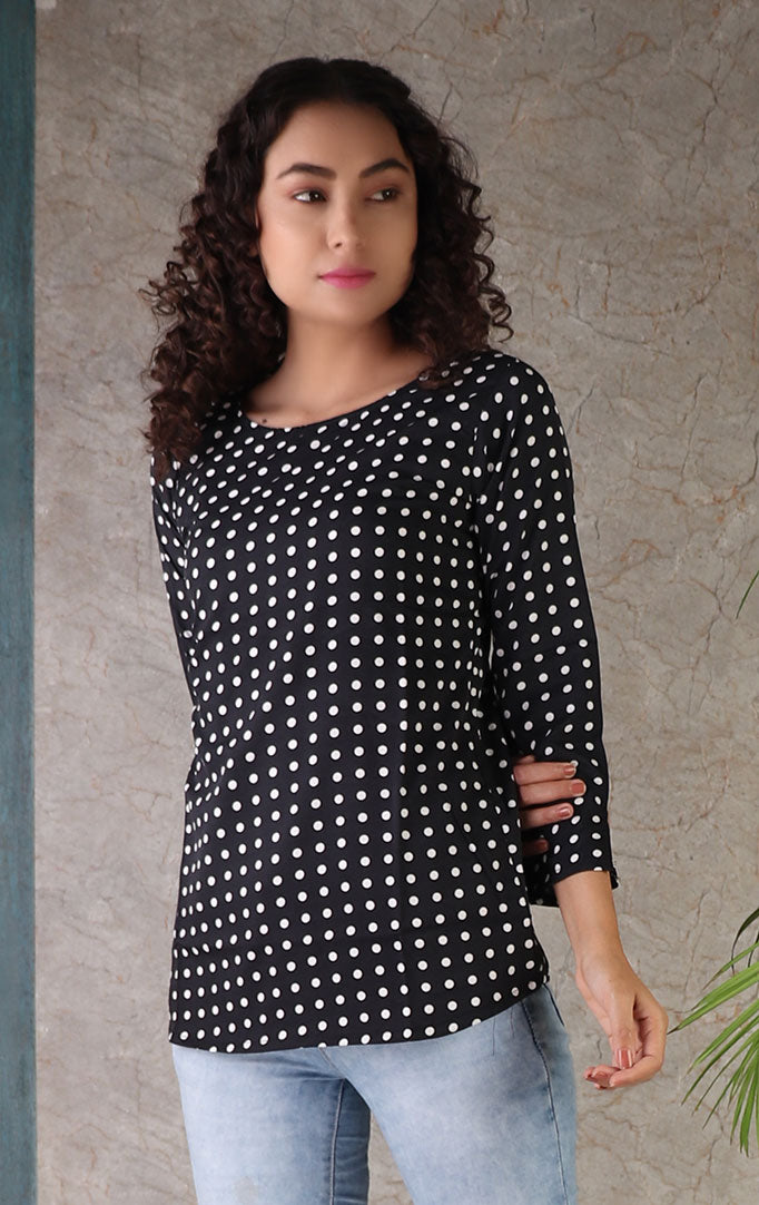 Black Top With White Polka Print