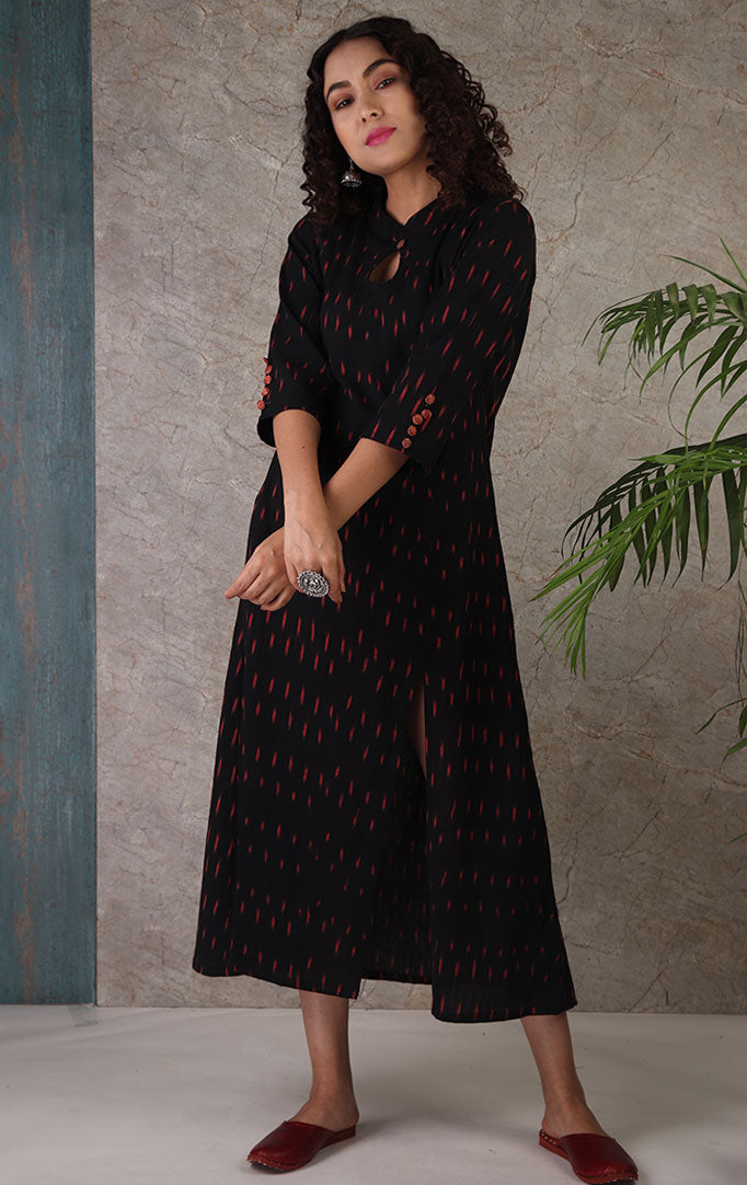 Black Ikat Dress with Red Shrug