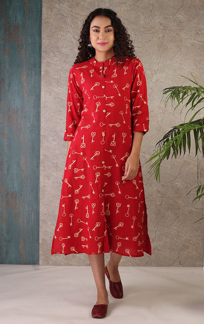 Elegance is The Key Kurta in Red