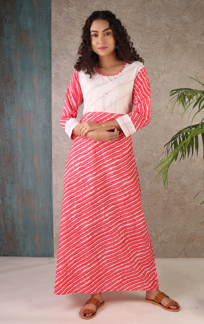 Pink and White Lehariya Dress