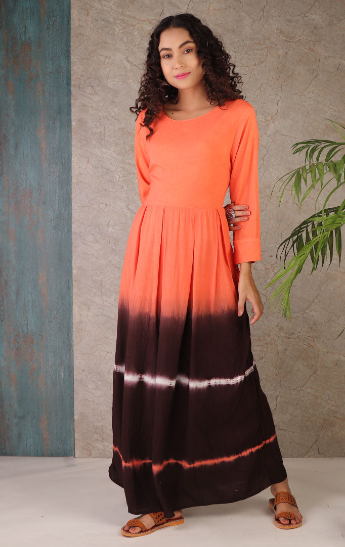 Orange Dyed Maxi Dress