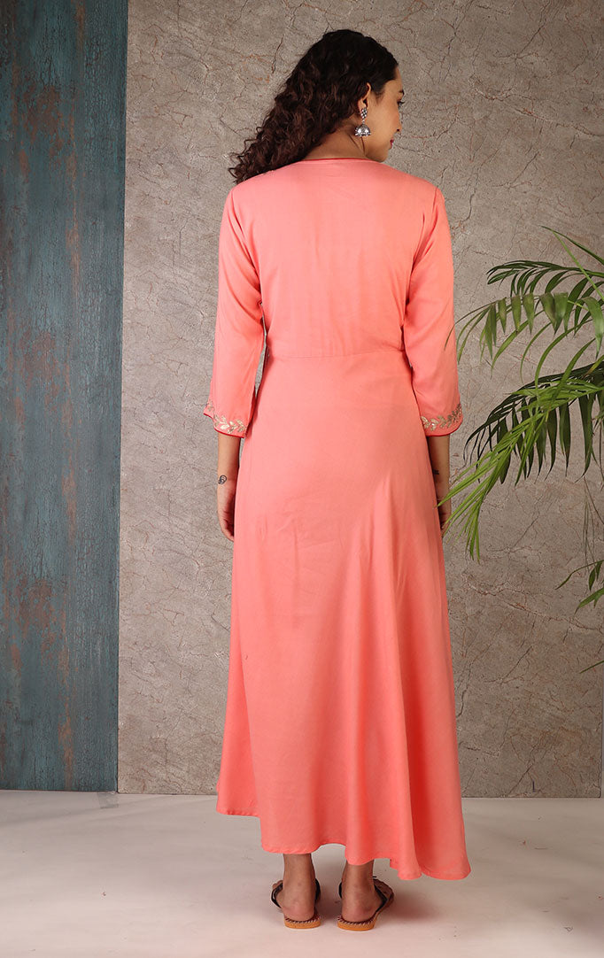 Asymmetric A-Line Dress In Pink Color