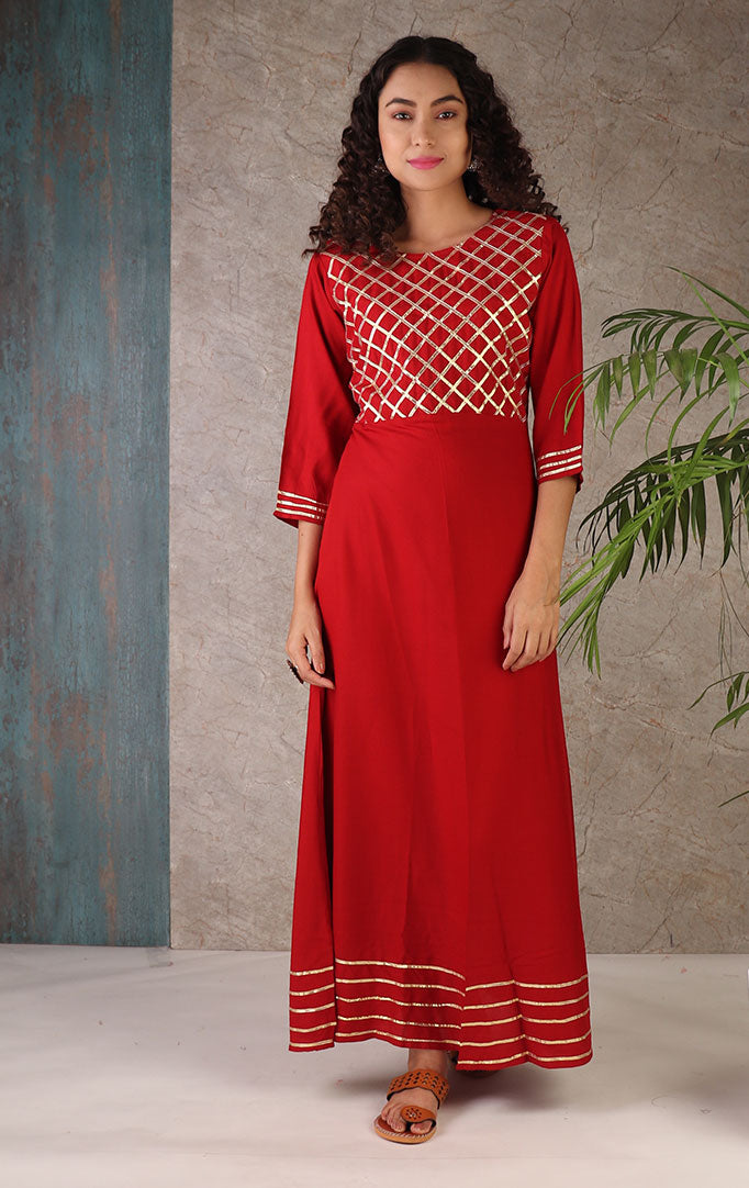 Red Maxi Dress With Gota Patti Work