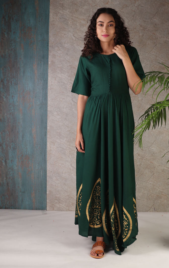Hunter Green Anarkali Dress