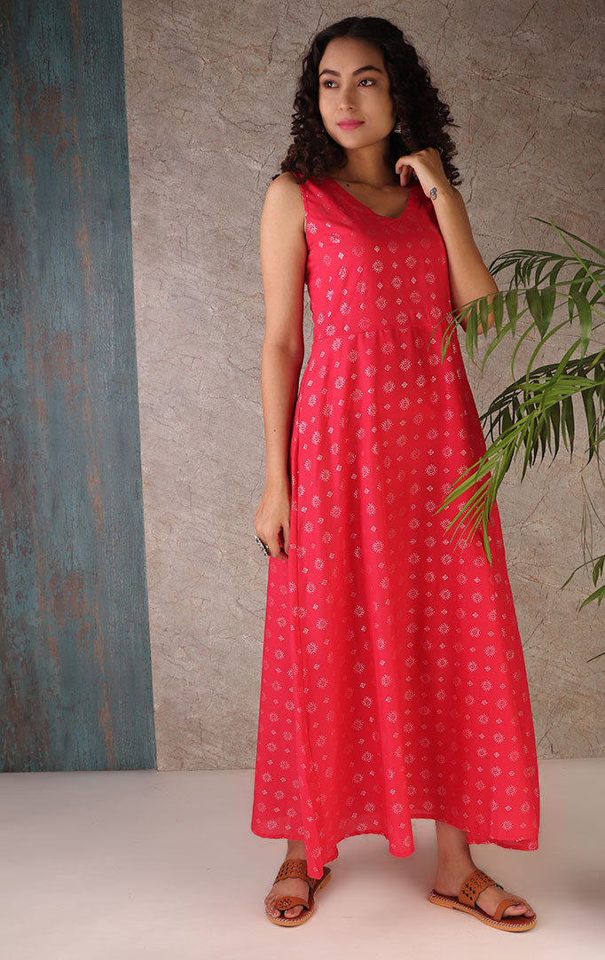 Silver Overlay Pink Maxi Dress