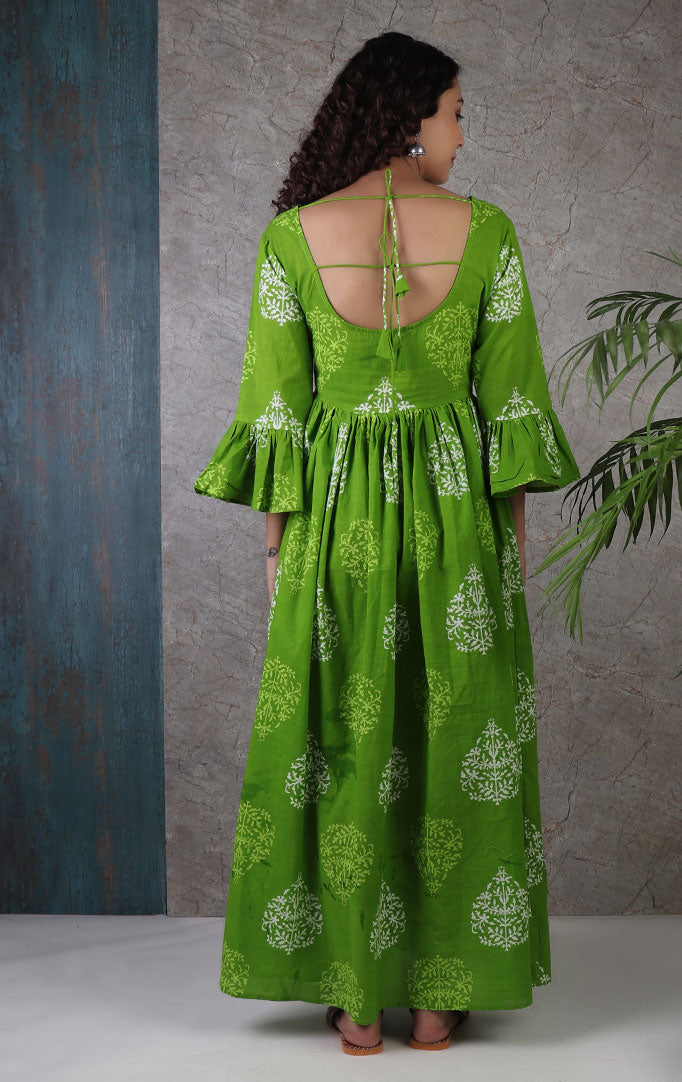 Green Block Printed Dress with Big Round Neck