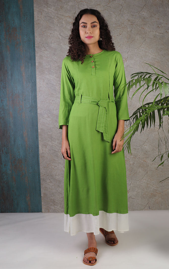 Green indo western dress with belt