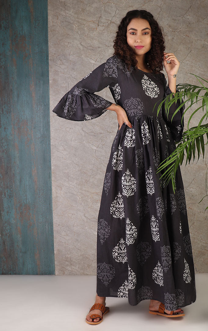 Dark Gray Block Printed Dress With Bell Sleeves