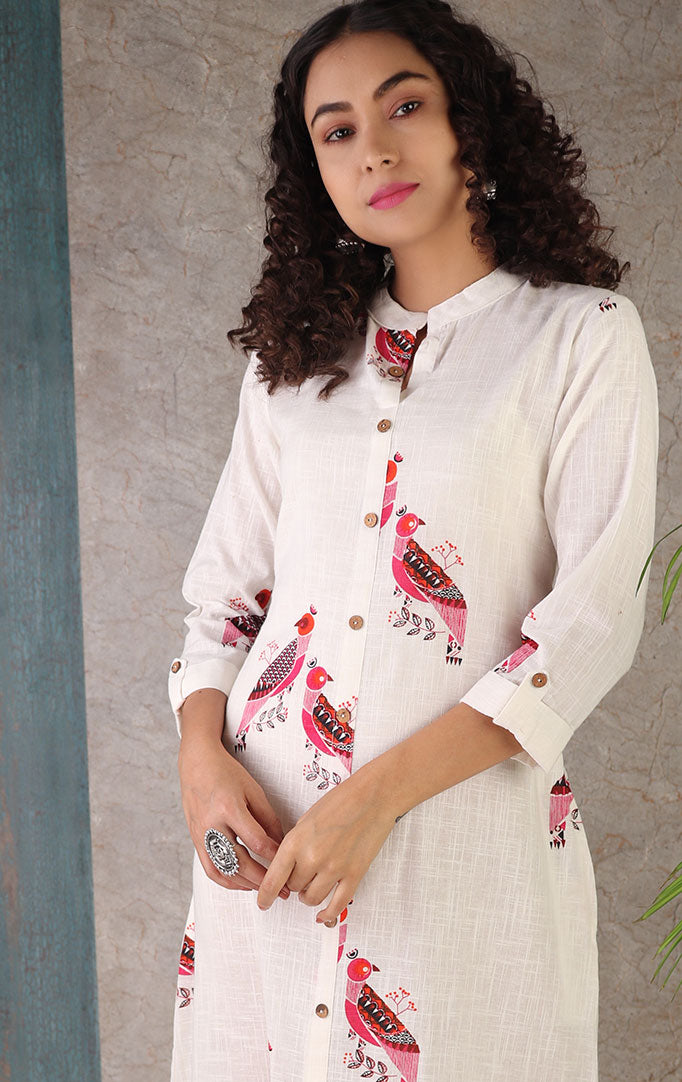 Fly Away Bird Print Kurta