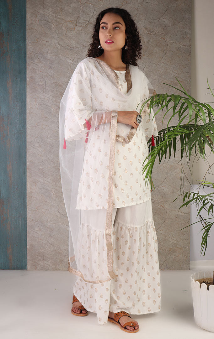 Serene Sharara Set In White