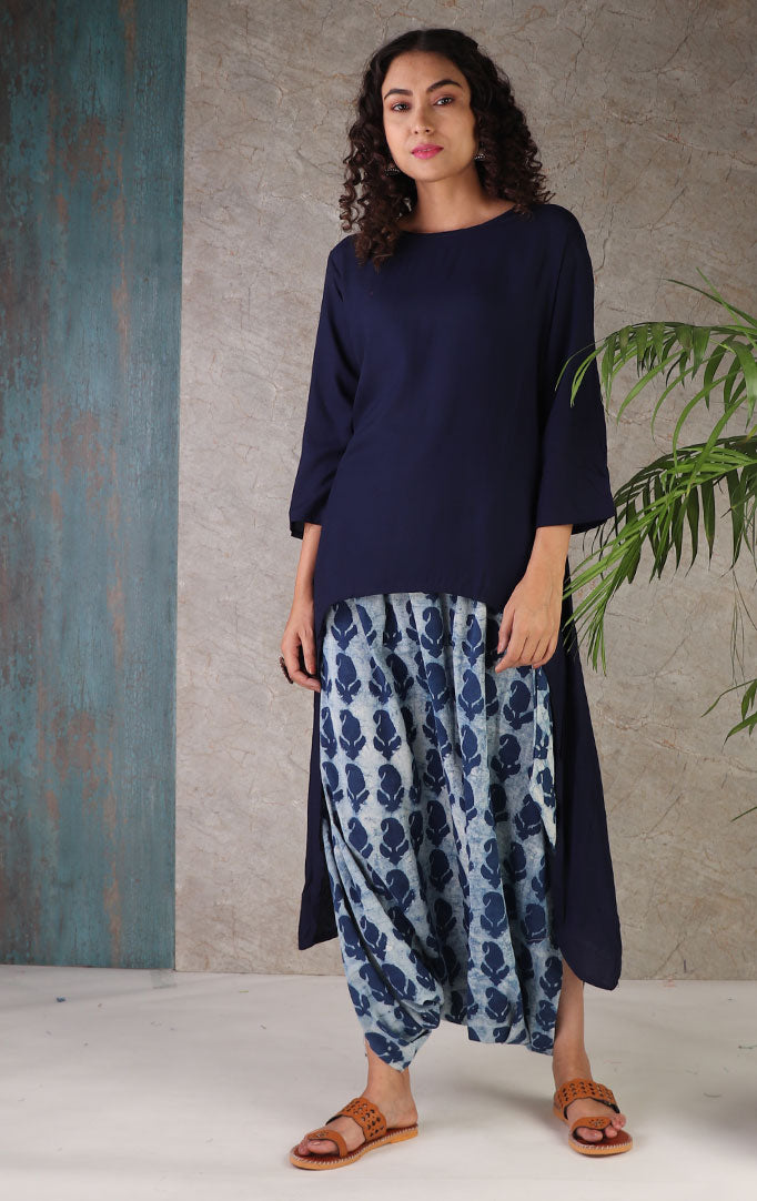 Navy Blue Dhoti Set