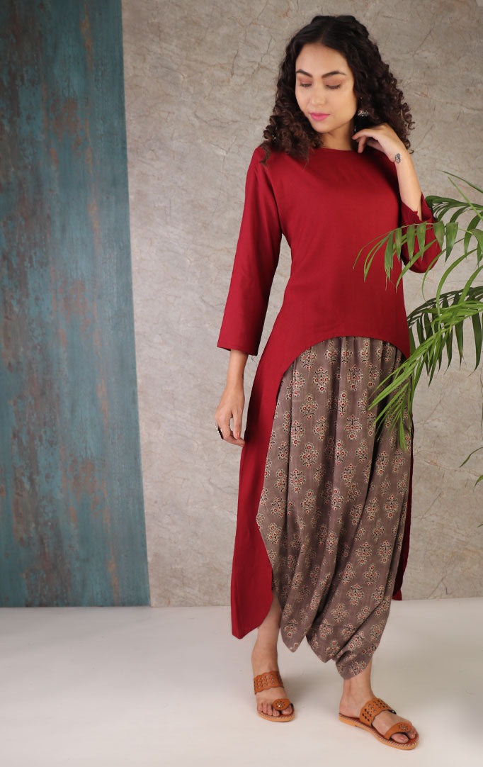 Red Cape Style Dhoti Set