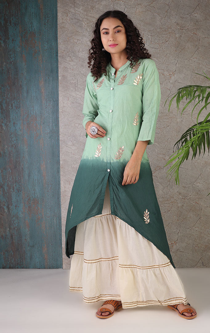 Gota Patti Sharara Set In Emerald Hues