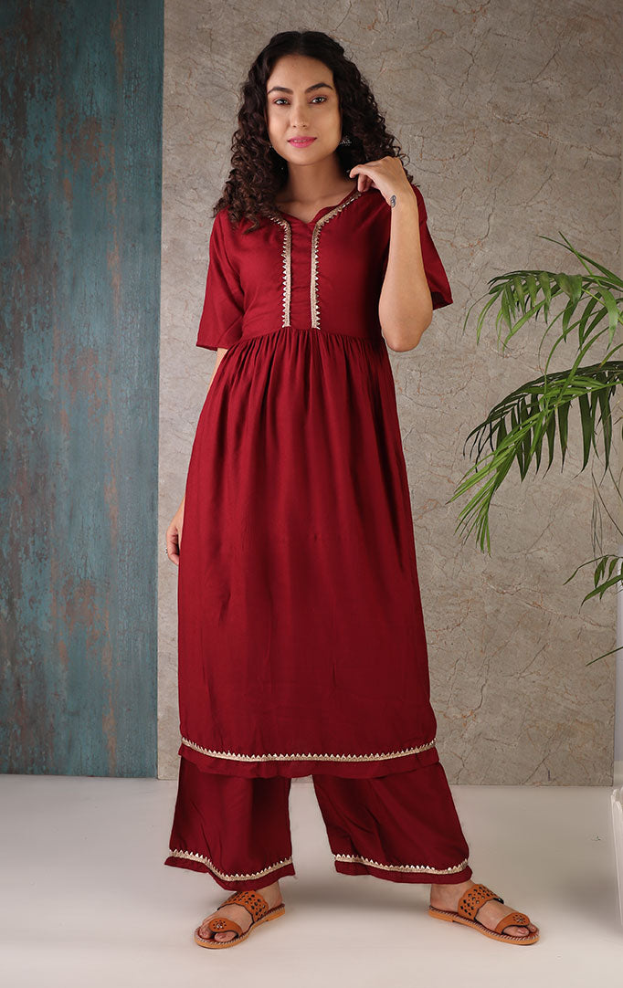 MAROON DRESS WITH DUPATTA