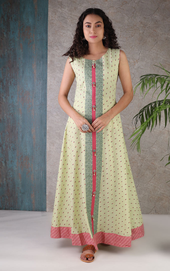 Sage Green Dress with Flower Buds Print