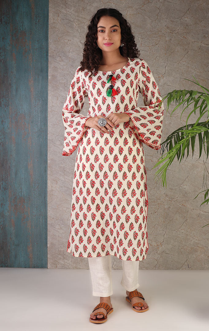 Pressed Flowers Kurta With Bell Sleeves