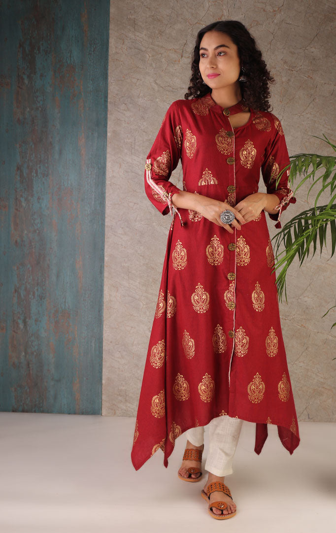 Golden Paisley High Low Kurta  In Maroon