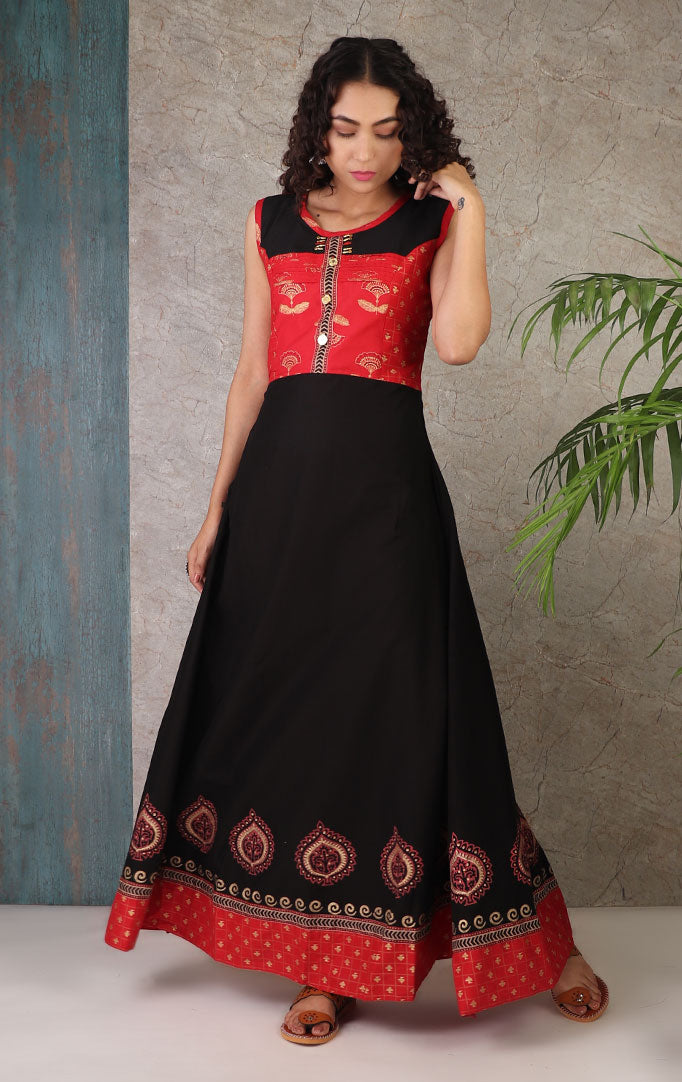 Golden Print Dress In Red And Black With Dupatta